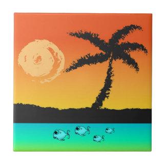 Island Sunset Ceramic Tile