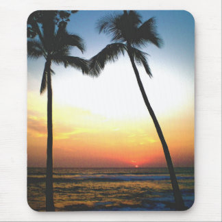 Island Sunset Hawaii Palm Tree Mouse Pad