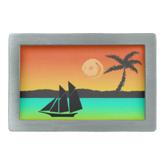 Island Sunset Rectangular Belt Buckle