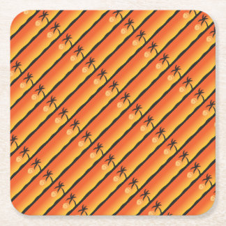 Island Sunset Square Paper Coaster