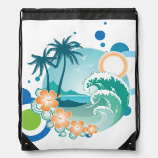 Island Surf Drawstring Backpack