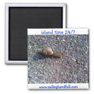 island time snail square magnet