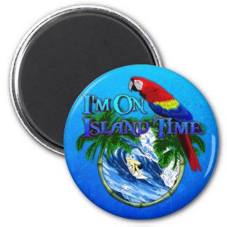Island Time Surfing 6 Cm Round Magnet