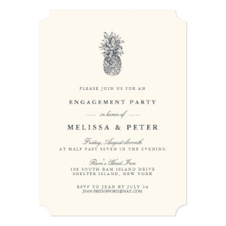 Island Vintage Pineapple Engagement Party Invite