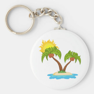 Island With Two Palm Tree Basic Round Button Key Ring
