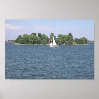 Island With Yacht At Helsinki Print