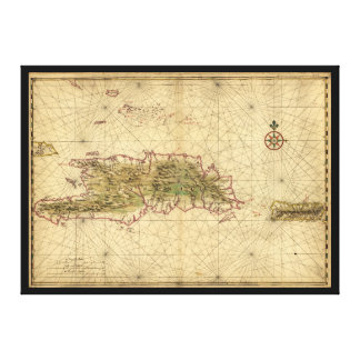 Islands of Hispaniola and Puerto Rico Map (1639) Canvas Print