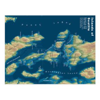 Islands of Seattle Sea Level Rise Map Postcard