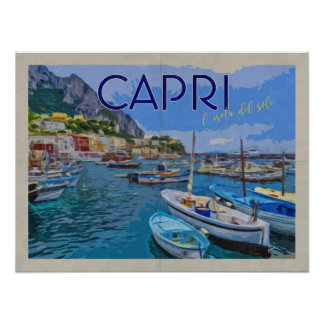 Isle of Capri Italy Distressed Vintage Travel Poster