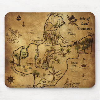 Isle of Lost Treasure Map Mouse Pad