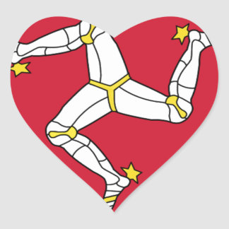 Isle of Man Flag - Manx Flag - Brattagh Vannin Heart Sticker