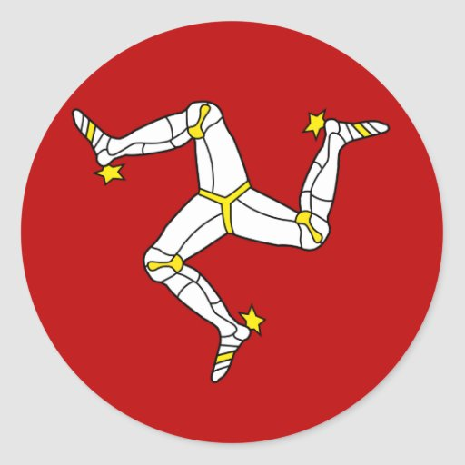 Isle Of Man High quality Flag Round Stickers