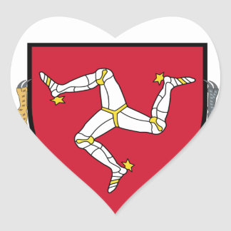 Isle of Man Republican Coat of Arms - Manx Emblem Heart Sticker