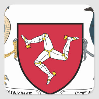 Isle of Man Republican Coat of Arms - Manx Emblem Square Sticker