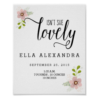 Isn't She Lovely Baby Girl Nursery Print