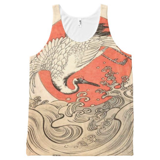 Isoda Koryusai - Crane, Waves and Rising Sun All-Over Print Singlet