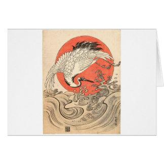 Isoda Koryusai - Crane, Waves and Rising Sun Card