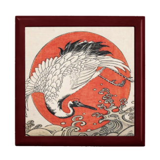 Isoda Koryusai Crane Waves and rising sun Gift Box