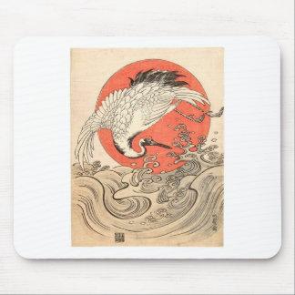 Isoda Koryusai - Crane, Waves and Rising Sun Mouse Pad