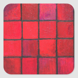 Isolated 16 Red Squares (Geometric expressionism) Square Sticker