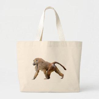 Isolated baboon walking jumbo tote bag