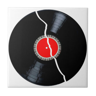 Isolated Broken Record Ceramic Tile