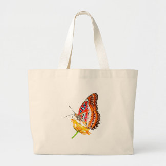 Isolated cethosia butterfly on flower canvas bags