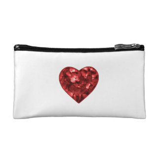 Isolated Floral Heart Shape Ornament Makeup Bags