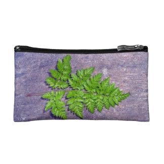 Isolated fresh fern leaf cosmetic bags