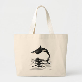 Isolated killer whale with reflection canvas bag
