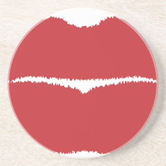 Isolated Lip Kiss Drink Coaster