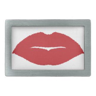 Isolated Lip Kiss Rectangular Belt Buckle