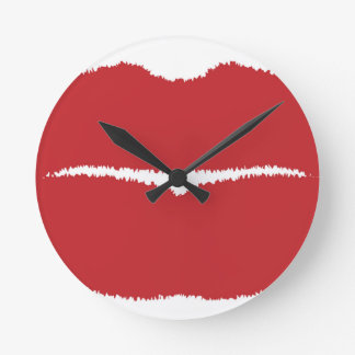 Isolated Lip Kiss Round Clock