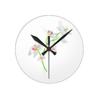 Isolated Orquideas Blossom Round Clock