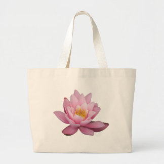 Isolated pink waterlily, background optional tote bags
