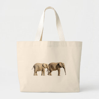 Isolated two African elephants Canvas Bags