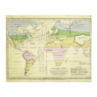 Isothermal chart climates & productions Woodbridge Stretched Canvas Print