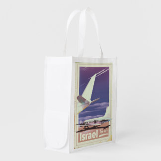 Israel Commercial airliner travel poster Reusable Grocery Bag