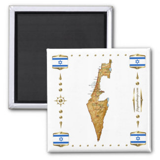 Israel Map + Flags Magnet