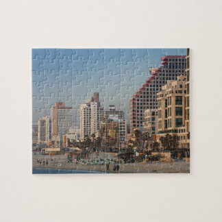 Israel, Tel Aviv, beachfront, hotels, dusk Jigsaw Puzzle