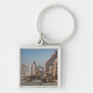 Israel, Tel Aviv, beachfront, hotels, dusk Silver-Colored Square Key Ring