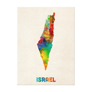Israel Watercolor Map Canvas Print