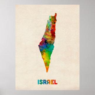 Israel Watercolor Map Poster