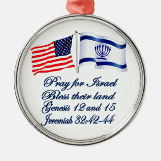 `Israeli American flag collection Silver-Colored Round Decoration