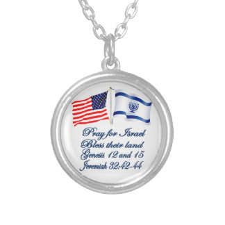 Israeli American flag collection Silver Plated Necklace