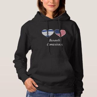Israeli American Flag Hearts Hoodie
