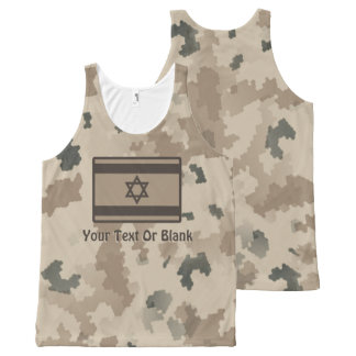 Israeli Flag On Desert Camo All-Over Print Singlet