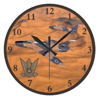 Israeli Super Mystères Over The Desert Large Clock