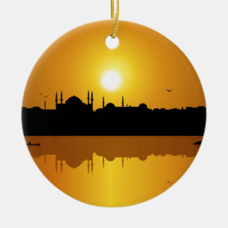 Istanbul And Sunset Ceramic Ornament