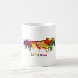Istanbul skyline in watercolor coffee mug